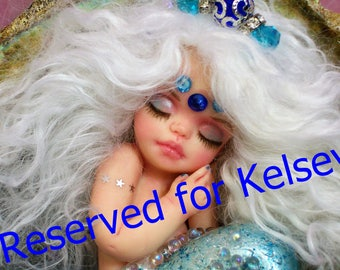 Reserved for Kelsey 1 pmt of 125.00 balance of 125.00 will be paid in 2nd listing.  OOAK art doll  mermaid baby polymer clay sept sapphire
