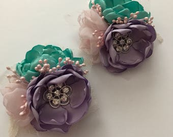 Teal, Pink and Lavender Hair Clip - Ready To Ship!