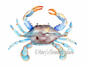 Blue Crab Watercolor-crab art, Sea Life Art, beach house decor, crab print, watercolor painting, Maryland Blue Crab, Blue Crab painting
