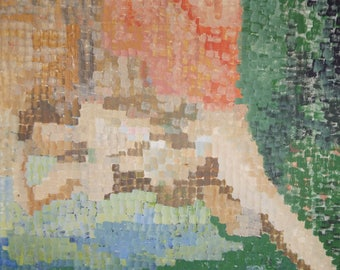 Abstract Divisionism Oil On Canvas Painting Reclining Nude Neo Impressionism 70s