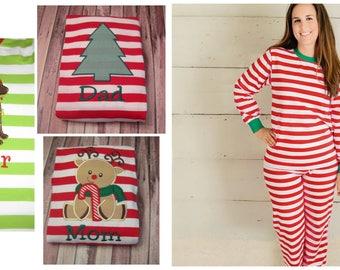 Family Christmas Pajamas, Adult Christmas Pajamas, Womens Pajamas, Monogrammed Christmas Pajamas