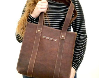 Handmade leather tote - rustic chocolate brown