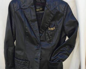 Vintage 80s Etienne Agnier Black Leather Jacket - Size 10 - Great Condition!