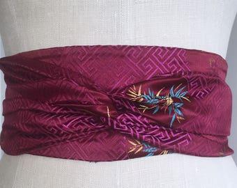 Magenta asian brocade obi belt, brocade obi belt , Claret silk sash, burgundy bridal sash, wedding asian brocade sash obi