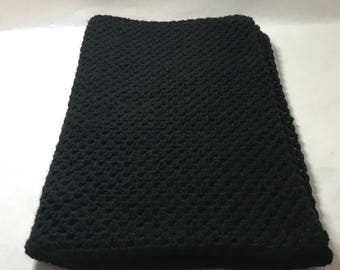 Lap blanket, office cover. wheelchair lap throw, crocheted, black