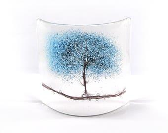 Fused Glass Blue Tree Curve, Glass Art, Gift, free standing, trees, fused glass tree, glass gift, Blue Tree