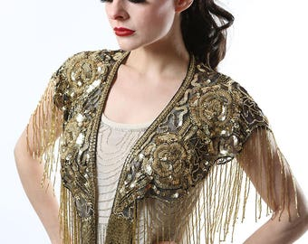 Black and Gold Sequin Cape