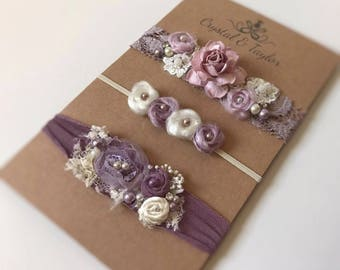 Floral Headbands in Mauve and Ivory, Baby Girl Headbands, Mauve Tieback, Newborn Headbands, Newborn Props