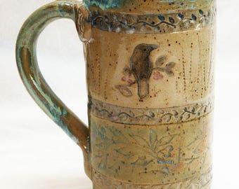Ceramic raven mug 20oz. stoneware 20D050