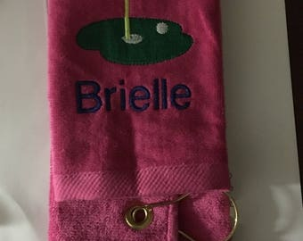 Personalized golf towel, now burgundy available, custom embroidery included in the price, any color, two size choices