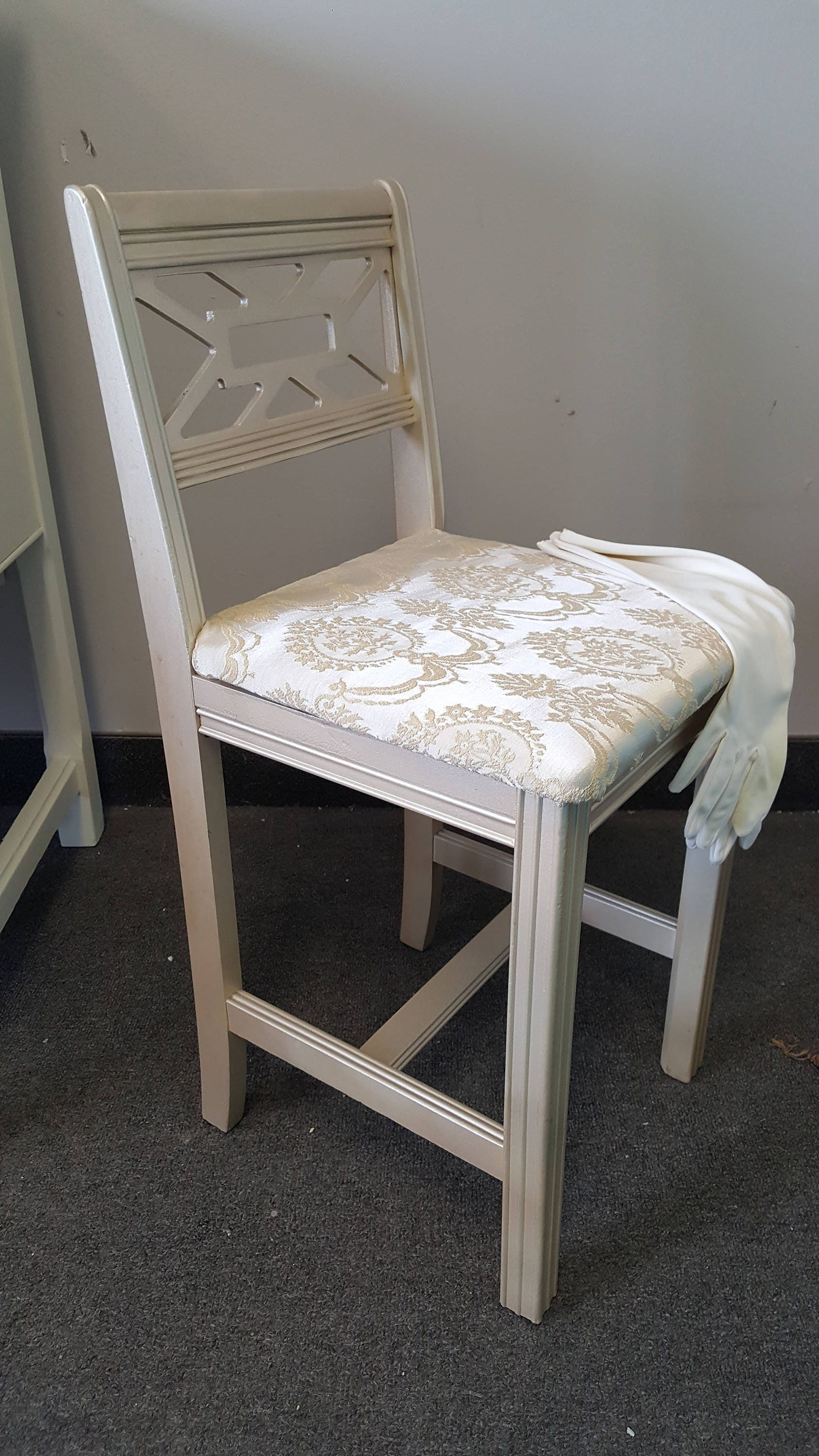 Vintage Metallic vanity chair shabby chic glam PICK UP ONLY