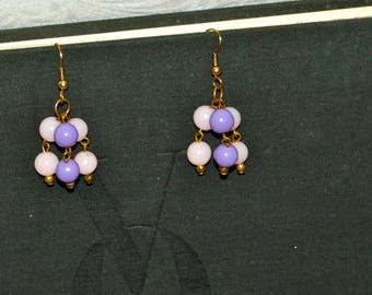Vintage Light Pink and Purple Drop Dangle Earrings