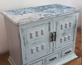 Hand Painted Vintage French Grey Wooden Jewelry Box