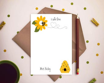 Bee note pads, notepads, writing pads, customize note pads, customize note pads, teachers writing pads