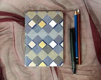 Small Blank Journal with Navy Blue and Gold Geometric Pattern Cover