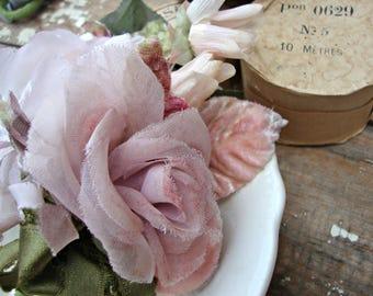Antique Vintage Velvet Millinery Flowers Posy - #207