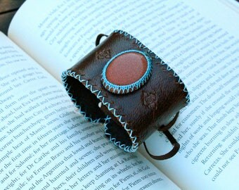 Leather Cuff - Goldstone Stone - Stone to Calm and Stabilize - OSFM