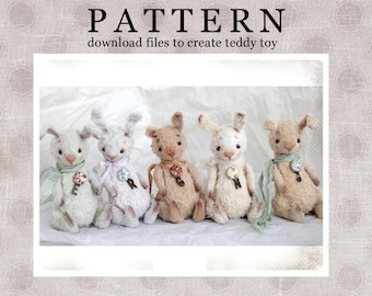 PATTERN Download to create Miniature Teddy like Mini Bunny 4,5 inches