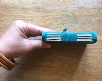 Mini Turquoise Leather Wrap Journal-Small Sketchbook in Aquamarine-Simple Pocket Size Notebook