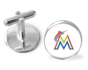 Father's Day gift, Miami Marlins cuff links, Groomsman gift, sporty gift, gift under 25, baseball cufflinks, gifts for men, pro baseball