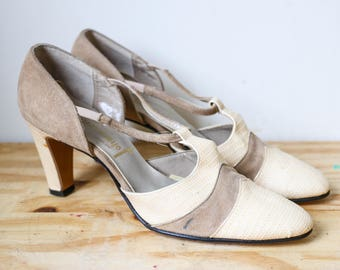 1960s 70s Two Tone Shoes Pinup Pump Retro Johansenettes 20s Inspired Flapper Revival Vintage