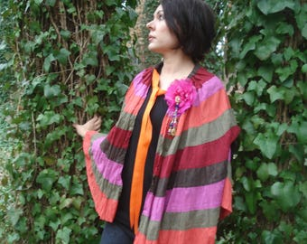 Multi-Color Bohemian-Style Ruffled Cape