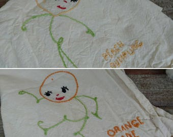 Vintage Anthropomorphic Orangeade + Peach Dumplings Tea Towel - Hand Stitched Fruit Towel, Guest Towel, Kitchen Towel, Kitsch Kitchen Decor