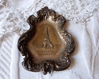 Antique French ashtray Paris souvenir antique ash tray dish w Eiffel Tower Tour d'Eiffel souvenir Rare French bistro table decor