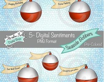 We Are 3 Digital Shop - Seaside Bobbers Sentiments,  Transparent Digital Image, Pre-Colored
