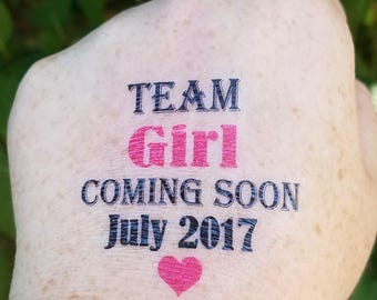 Team Boy Team Girl Baby Shower Temporary Tattoo Gender Reveal Baby Shower Party Favor Party Gift Baby Girl Baby Boy Custom Tattoos