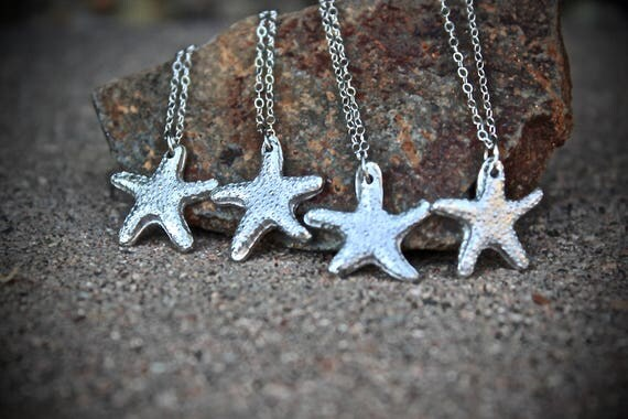 Starfish Charm Necklace, Bridesmaid Necklace, Starfish Silver Necklace, Silver Starfish Charm Necklace, Starfish Bridesmaid Necklaces Silver