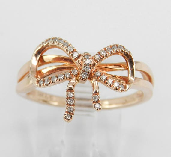 Diamond Bow Tie Ring Promise Cluster Ring 14K Rose Pink Gold Gift Size 7