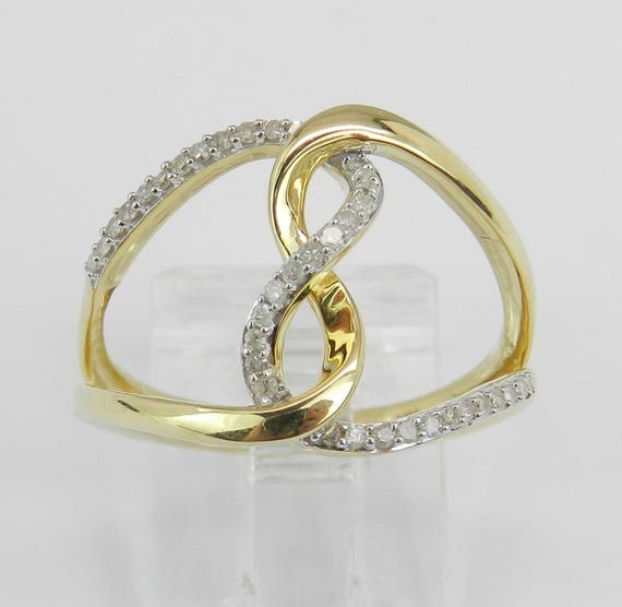 Yellow Gold Diamond Ring Twist Crossover Journey Fashion Style Design Size 7