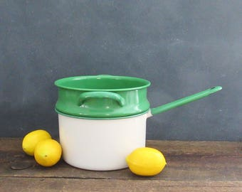 Vintage Enamelware Double Boiler, Green and White 2 Qt Enamelware Pot, Farmhouse Decor