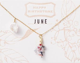 June Birthstone Necklace : Pearl with Liberty Tassel