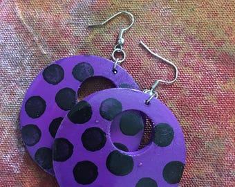 Hand painted Punk Style Hoop Earrings