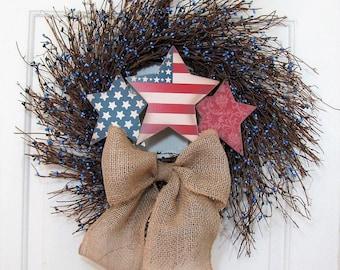 LAST ONE! - Patriotic Wreath - Americana Star Wreath - Blue Berry Wreath - Country Farmhouse Home Decor - 4th of July Wreath - Door Wreath