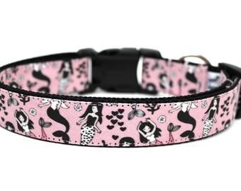 "Mermaid Dog Collar 3/4"" or 1"" Girl Dog Collar Summer Dog Collar Mermaids Dog Collar"