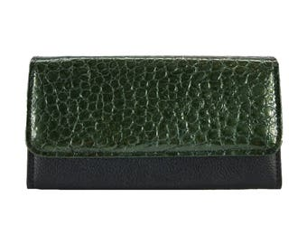 Amelia Wallet in Moss Green Patent Leather