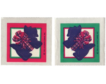 Vintage 80's HALLMARK Stickers ~ SCOTTIES Scotty Dogs CHRISTMAS Holiday Plaid