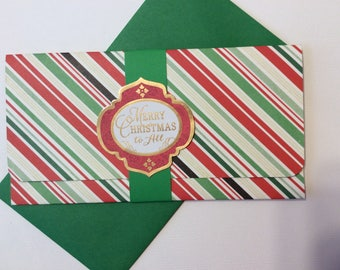 Handmade, Christmas Money Card, Stripes, Green, Red, Green Band, Merry Christmas To All Embellishment, Green Inside with Stars