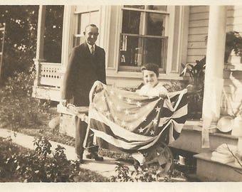 "Vintage Photo ""Patriotic Parade"" American Flag Bunting Woman In Wheelbarrow Found Vernacular Photo"