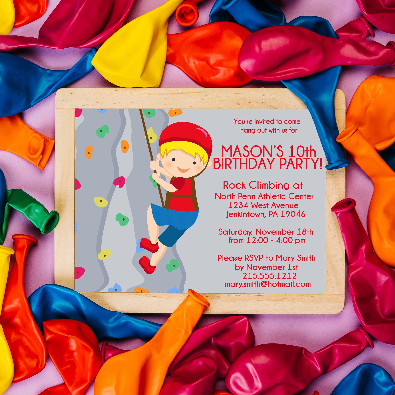 Rock Climbing Birthday Party Invitation Cards PRINTABLE DIY