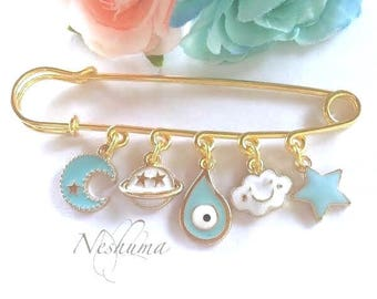 Cute Safety Baby Pin Stroller Good Luck Pin, Baby Evil Eye Pin, Stroller Pin, Baby Evil Eye Amulet, Baby Protection Pin, Evil Eye Protection