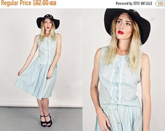 FLASH SALE 50s Polka Dot Dress Vintage Light Blue Two Piece Cotton Set