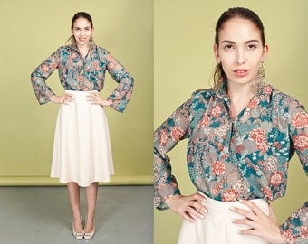 70s Green Orange Boho Blouse Vintage Long Sleeve Floral Fall Top