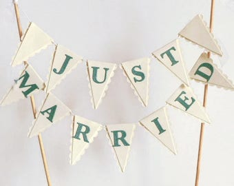 Just Married Wedding Cake Bunting Topper - White & Green - Winter Wedding