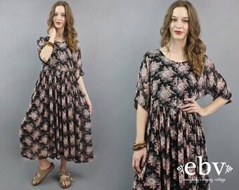 Black Indian Dress Indian Maxi Dress 90s Maxi Dress India Maxi Dress Floral Maxi Dress Hippie Dress Hippy Dress Boho Dress S M L