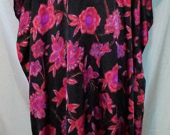 BIG SUMMER SALE 80s Vintage Sante-Exotic Floral Print Caftan-One Size-Resort-Lounge-Cruise-Beach-Festival-Hipster-At Home-Leisure-Boho