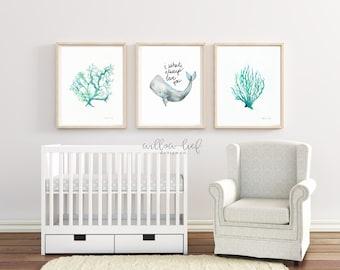 Baby Beach Trio, Beach house art, Beach Print, Beach Art, Coral Print, Wall Art, Watercolor Print, Nursery Art